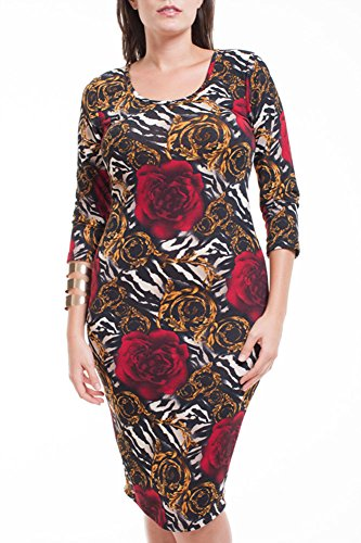 Plus Size Abstract Animal Rose Print Bodycon Fashion Dress XD19266H