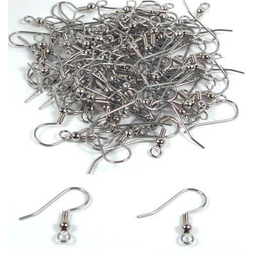 Silver Plated Earring Hooks Wth Ball & Coil (X100)