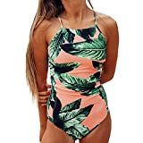 Lemosery Women's Bathing Floral Leaf Printed Sexy Back Bandage Padded Halter One Piece Monokini Swimsuits, Orange, S (US 4-6)