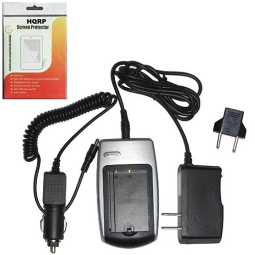 Hqrp Battery Charger For Nikon Coolpix S50 / S50C, S51 / S51C, S52 / S52C (Incl. Car And Wall Usa / European Plug Adapters) + Hqrp Screen Protector