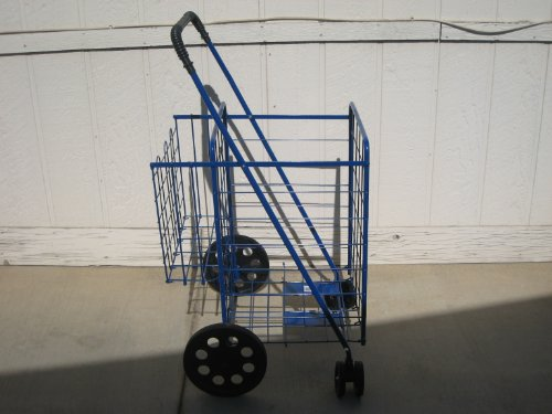 Swivel Wheels FOLDING SHOPPING/LAUNDRY CART with Double Basket Cart (Blue)