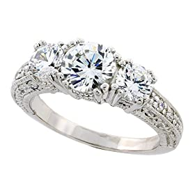 """Sterling Silver Vintage Style Three-Stone Engagement Ring w/ Rhodium Plating, w/ two 5mm (0.50 Carat each) & one 7mm (1.25 Carats) Brilliant Cut CZ Stones, 1/4"""" (7mm) wide, size 6"""