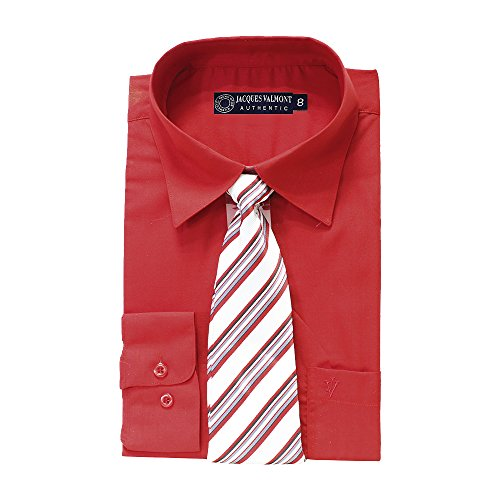 Jacques Valmont Men's Long Sleeve Shirt with Tie (Multiple Colors, Sizes S-XXXL)