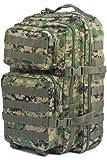 Mil-Tec Military Army Patrol Molle Assault Pack Tactical Combat Rucksack Backpack Bag 50L Digital Woodland
