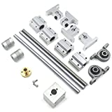 Lead Screw Bearing Mounts, Mergorun 400mm Horizontal Optical Axis & 8mm Lead Screw Dual Rail Shaft Support Pillow Block Bearings & Flexible Shaft Coupling With Set of 17