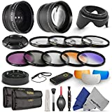 52MM Essential Accessory Kit for NIKON DSLR (D3300 D3200 D5300 D5200 D5100 D5000 D3000 D90 D80) - Includes: 0.43x Wide Angle & 2.2x Telephoto High Definition Lenses + Remote Control + Vivitar Filter Kit (UV, CPL, FLD) + Vivitar Macro Close-Up Set + Collapsible Lens Hood + Tulip Lens Hood + Center Pinch Lens Cap + 2 Color Filters + Flash Diffuser Set + Deluxe Cleaning Kit with MagicFiber Microfibers