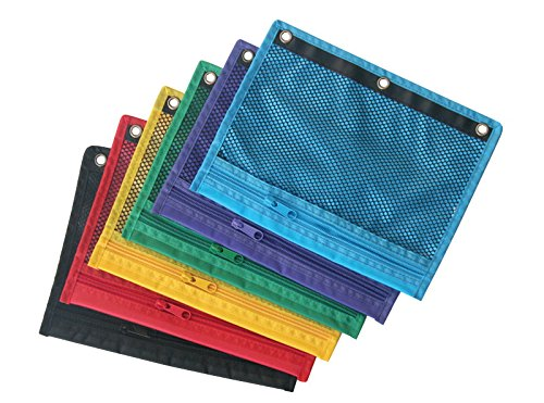 School Smart Zippered Mesh Storage Pockets For Three Ring Binders - Pack of 12 - Assorted Colors (3 Ring Binder Storage compare prices)