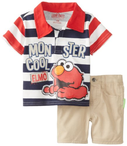 Sesame Street Baby-Boys Infant 2 Piece Elmo Stripe Short Set, Chinese Red, 24 Months front-937358