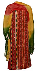 eco haat Hand Crafted vibrant Traditional Patchwork unstitched Red Salwar Suit Dress Material