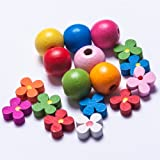 Childrens colourful wooden bead kit with free flower spacer beads and thread.