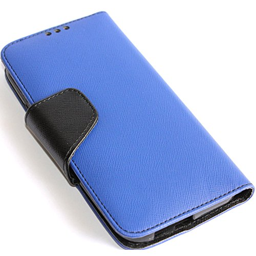 Mylife (Tm) Royal Blue + Black {Modern Design} Faux Leather (Card, Cash And Id Holder + Magnetic Closing) Slim Wallet For The All-New Htc One M8 Android Smartphone - Aka, 2Nd Gen Htc One (External Textured Synthetic Leather With Magnetic Clip + Internal S