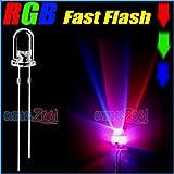 100 PCS x 5mm RGB fast flash LED