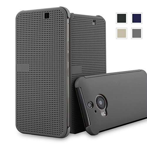 HTC One M9+ dot view case,HTC M9 PLUS Dot View cover(HTC Hima Ultra,HTC Hima Ace Plus,M9pt,) Dot View Cover Flip Protective Case AaBbDd Holster (Grey) (Htc Hima Ace Plus Case compare prices)