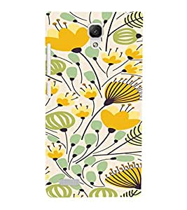 iFasho Animated Pattern colrful flower with leaves Back Case Cover for Redmi Note