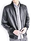(モノマート) MONO-MART PUレザー ライダース ジャケット ブルゾン MA-1 エムエーワン 厚手 アウター デザイナーズ モード MODE メンズ ブラック Lサイズ