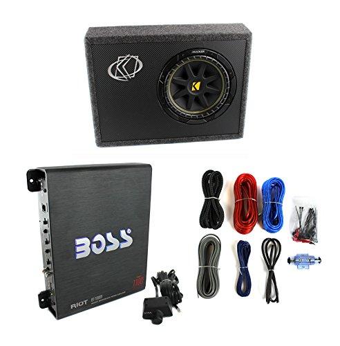 """New Kicker 10Tc104 10"""" 300W Subwoofer + Sub Box + Boss R1100M 1100W Amp +Amp Kit"""