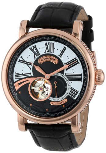 Romanson Romanson Men's TL9220RM1RA36R Classic Open Heart Exhibition Case Back Automatic Watch (Beige\/Sand\/Tan)