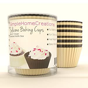 Cupcake & Muffin Baking Cups - Set of 1 Dozen (12) Standard Size Reusable Silicone... by Simple Home Creations