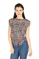 Aaliya Woman's Polyester georgetteTops- Multicolor-XL