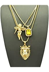 Yellow Stone, Floating Angel & King Lion Pendant Set w/ Multi Length Box Chains in Gold-Tone