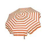 Heininger 1335 DestinationGear Italian Orange and White 6' Acrylic Striped Patio Pole Umbrella