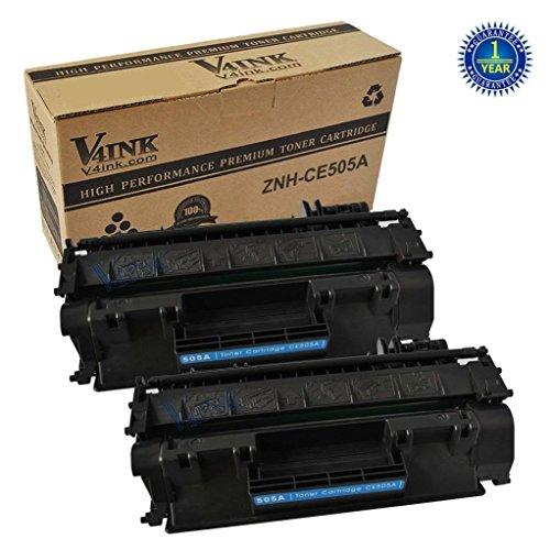 2 Pack V4INK® New Compatible CE505A 05A Toner Cartridge-Black for LaserJet P2035, P2035n, P2050, P2055, P2055d, P2055dn, P2055x
