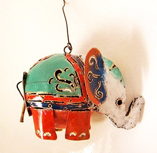Elephant Shaped hanging t-light holder, painted steel 9