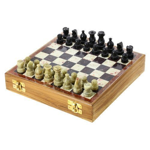 ShalinIndia Rajasthan Stone Art Unique Chess Sets and Board -Indian Handmade Unique Gifts -Size 8X8 Inches 0