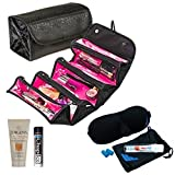 Hang Up Toiletry / Cosmetic Travel Bag Black With Travel Size Jergens Lotion, Travel Toothbrush/Colate Toothpaste, Sleep Mask, Ear Plugs And Chap Ice Lip Balm