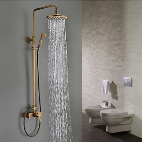 Rozinsanitary Antique Brass Tub Shower Mixer Faucet With 8 Inch Shower Head And Hand Shower front-406930