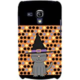 For Samsung Galaxy S3 Mini I8190 :: Samsung I8190 Galaxy S III Mini :: Samsung I8190N Galaxy S III Mini Grey Cat ( Grey Cat, Grey Cat With Circle, Cat With Black Hat, Polka Pattern, Polka, Black Background ) Printed Designer Back Case Cover By FashionCops