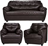 FabHomeDecor Rosabelle Five Seater Sofa Set 3-1-1 (Brown)