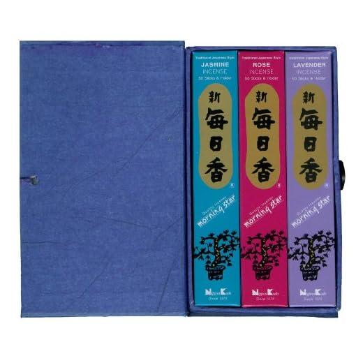 Geschenk-Set-3-Packungen-Morning-Star-japanische-Rucherstbchen-mit-Duftthema-BLUMEN-Lavendel-Rose-Jasmin-in-Box-mit-Goldaufdruck