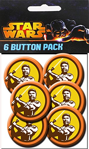 C&D Visionary Star Wars Clone Wars Obi Wan Colors 1.5 Inch Button, (6-Piece)