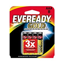 Eveready Gold Alkaline Batteries, Size AAA, 8 Count (Pack of 3)