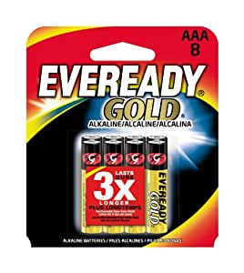 Energizer A92BP-8 Eveready Gold AAA Batteries (8-Pack), Black