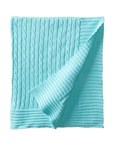 "Elegant Baby 100% Cotton Wide Cable Knit Blanket with Ribbed Border, Aqua, 36"" x 45"""