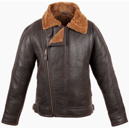 Mens Brown Leather Aviator Flying / Bomber Jacket with Caramel Sheepskin lining (Blenheim). Size 40