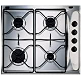 Whirlpool AKM260 Built-In Gas Hob in Stainless Steel - 4 gas burners, enamel pan supports, FFSD