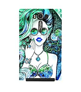 ANIMATED GIRL IN DUAL COLOUR GET UP 3D Hard Polycarbonate Designer Back Case Cover for Asus Zenfone 2 Laser ZE550KL :: Asus Zenfone 2 Laser ZE550KL (5.5 Inches)
