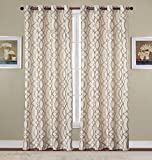 RT Designers Collection Dawson Poly Linen Jacquard Grommet Window Curtain Panel, Pair 54 x 84 Inches, 2 Pack, Taupe