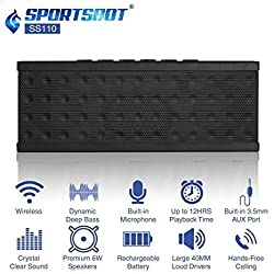 SportsBot SS110 Portable Bluetooth Wireless Speaker for 12Hrs Music Streaming & Hands-Free Calling w/ 40mm Driver Speakerphone, Built-in Mic, 3.5mm Universal Audio Port, Lithium Rechargeable Battery