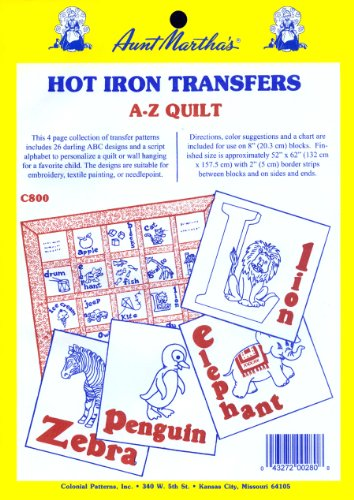 Aunt Martha's ABC Children's Quilt Iron On Transfer Pattern Collection