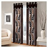 FASHIONFAB 2 Piece Polyester Door Curtain - 7ft, Brown