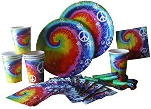 Creative Converting Party Essentials Kit, Tye Dye Fun, Plates, Napkins, Cups and Blow-Outs
