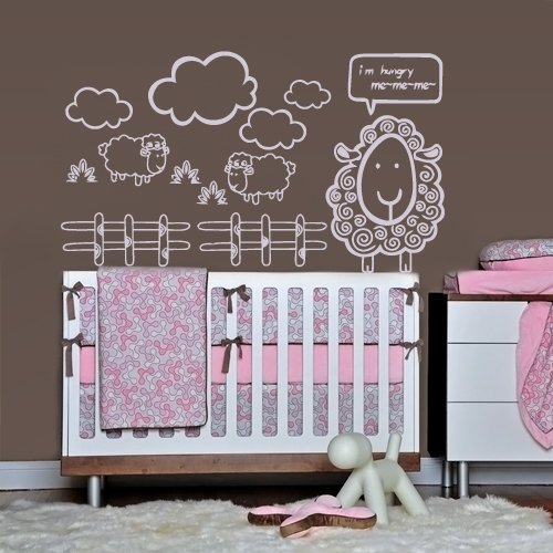 Wall Vinyl Sticker Decals Decor Art Nursery Kids Baby Sheeps Decal Me Me (Z1075) front-939810