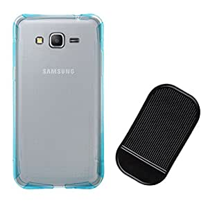 DMG Ultra Thin Flexible TPU Extra Protection and Grip Back Cover Case For Samsung Galaxy Grand Prime G530H (Blue) + Car Anti Skid Pad