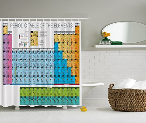 Periodic Table of Elements Chart Chemistry Fabric Shower Curtain Exclusive to Your Curtain Call (Period Table Shower Curtain compare prices)