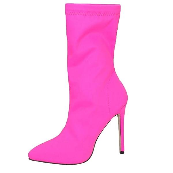 Women Vintage Pointed Toe High Heels Stretch Stiletto