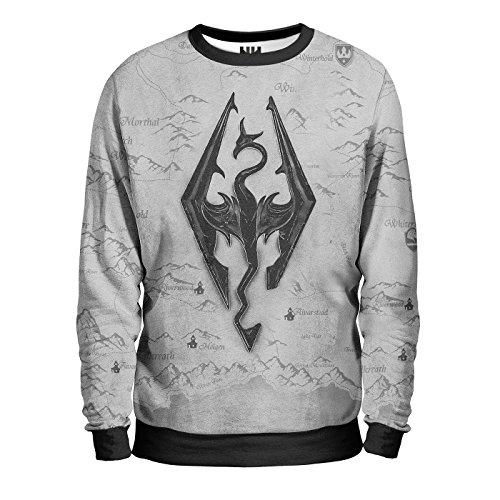 SKYRIM Felpa Uomo - Logo Sweatshirt Man - The Elder Scrolls Sony Playstation 4 Microsoft Xbox One Console Videogiochi T-Shirt Special Edition